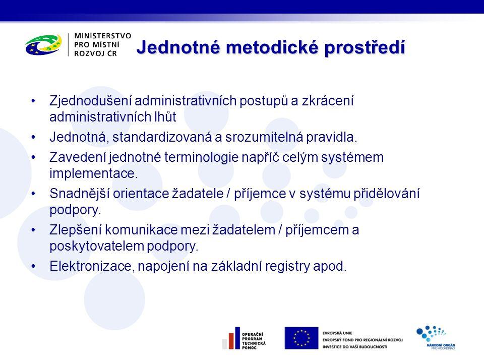 Jednotné metodické prostředí Zjednodušení administrativních postupů a zkrácení administrativních lhůt Jednotná, standardizovaná a srozumitelná pravidla.