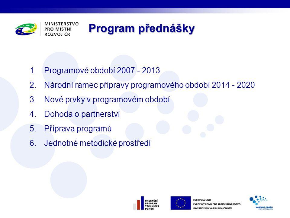 Program přednášky 1.Programové období 2007 - 2013 2.Národní rámec přípravy programového období 2014 - 2020 3.Nové prvky v programovém období 4.Dohoda