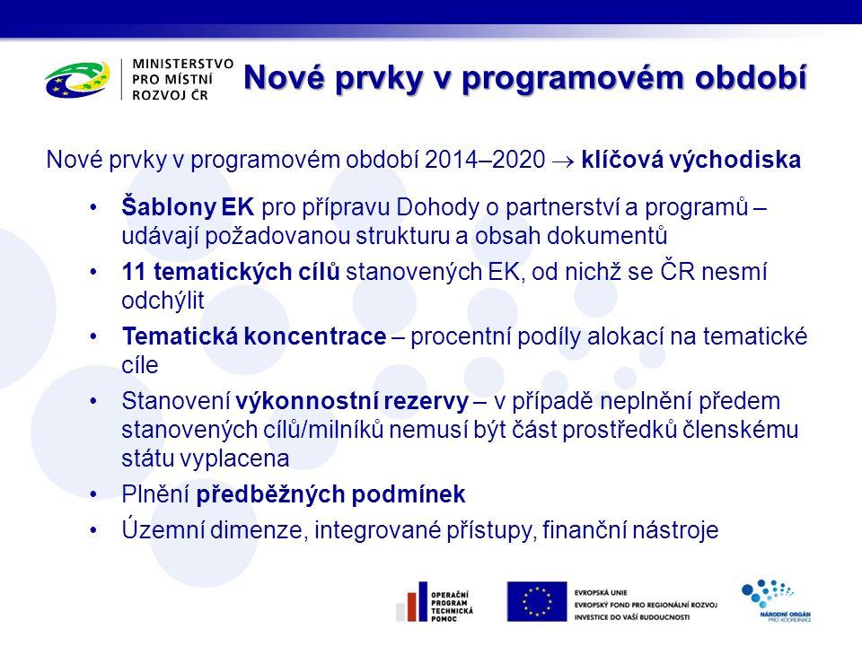 Nové prvky v programovém období 2014–2020  klíčová východiska Šablony EK pro přípravu Dohody o partnerství a programů – udávají požadovanou strukturu