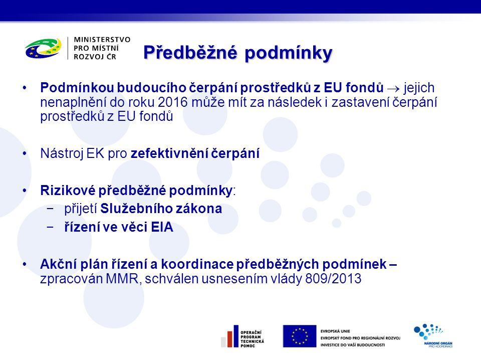 Podmínkou budoucího čerpání prostředků z EU fondů  jejich nenaplnění do roku 2016 může mít za následek i zastavení čerpání prostředků z EU fondů Nást