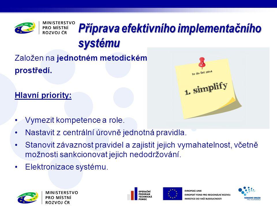 Založen na jednotném metodickém prostředí. Hlavní priority: Vymezit kompetence a role.