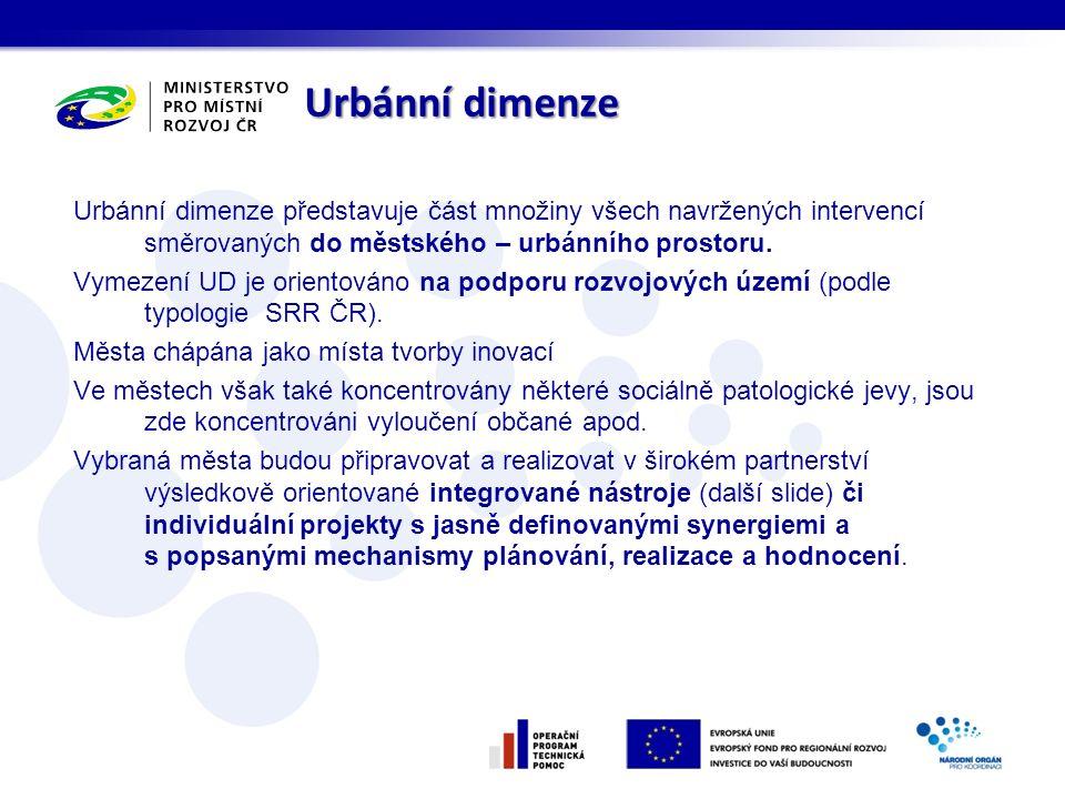 Urbánní dimenze Urbánní dimenze představuje část množiny všech navržených intervencí směrovaných do městského – urbánního prostoru.