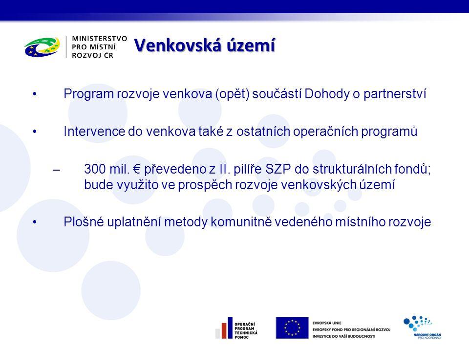 Venkovská území Program rozvoje venkova (opět) součástí Dohody o partnerství Intervence do venkova také z ostatních operačních programů –300 mil.