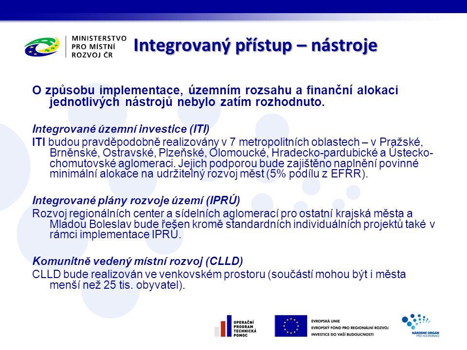 Integrovaný přístup – nástroje O způsobu implementace, územním rozsahu a finanční alokaci jednotlivých nástrojů nebylo zatím rozhodnuto.