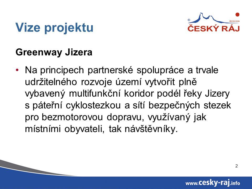 2 Vize projektu Greenway Jizera Na principech partnerské spolupráce a trvale udržitelného rozvoje území vytvořit plně vybavený multifunkční koridor podél řeky Jizery s páteřní cyklostezkou a sítí bezpečných stezek pro bezmotorovou dopravu, využívaný jak místními obyvateli, tak návštěvníky.