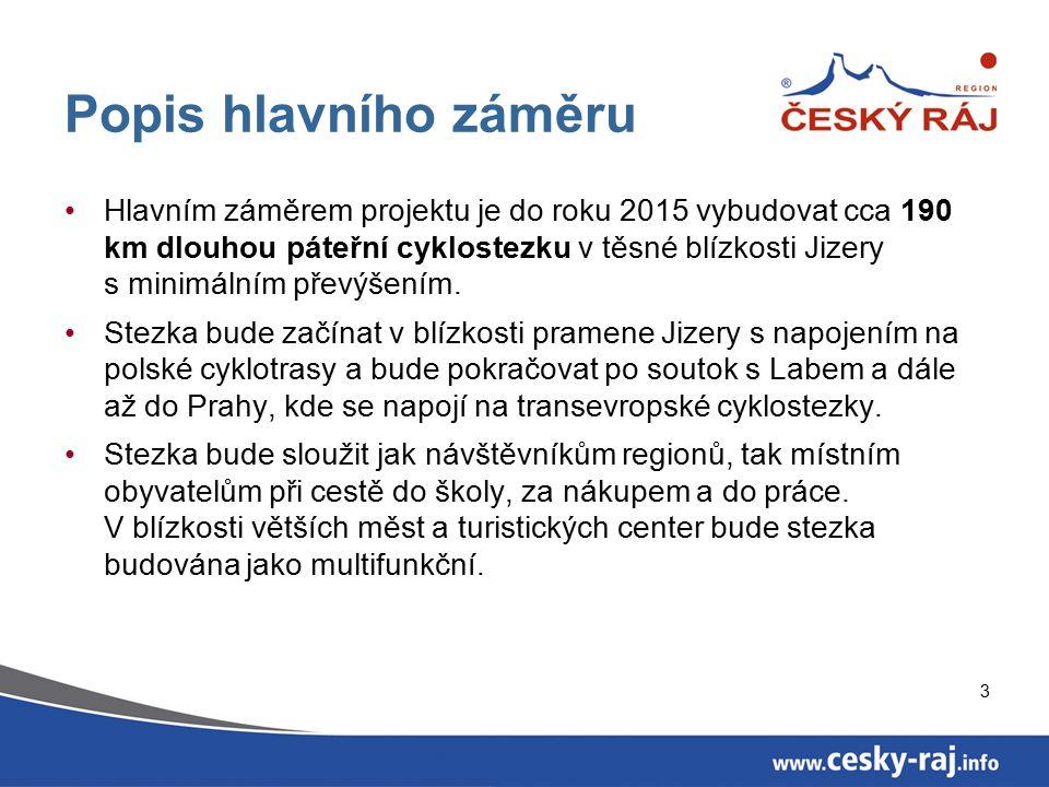 3 Popis hlavního záměru Hlavním záměrem projektu je do roku 2015 vybudovat cca 190 km dlouhou páteřní cyklostezku v těsné blízkosti Jizery s minimálním převýšením.