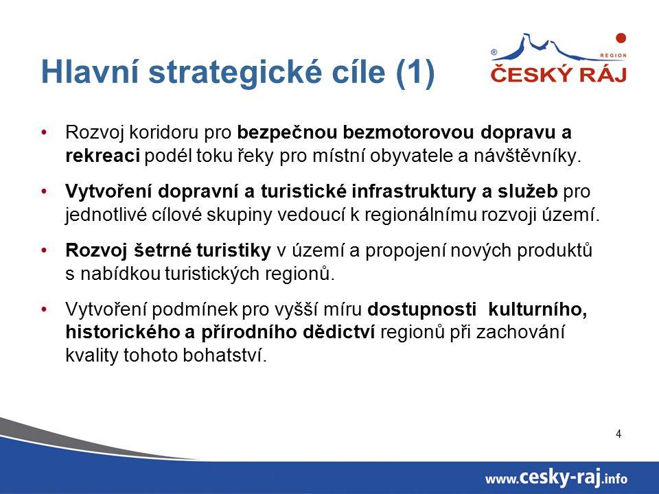 4 Hlavní strategické cíle (1) Rozvoj koridoru pro bezpečnou bezmotorovou dopravu a rekreaci podél toku řeky pro místní obyvatele a návštěvníky. Vytvoř