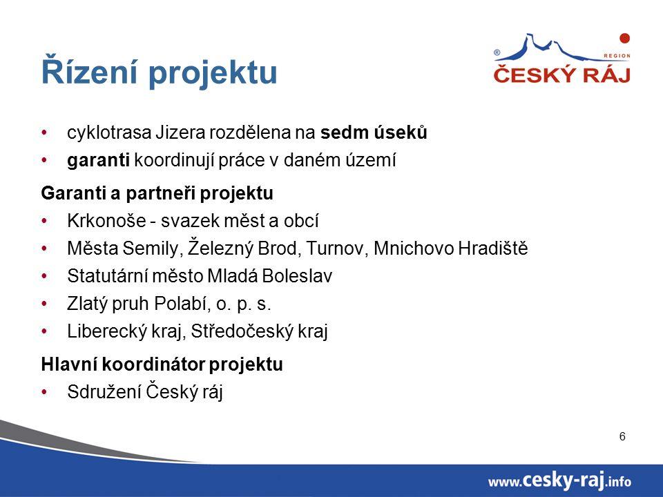 6 Řízení projektu cyklotrasa Jizera rozdělena na sedm úseků garanti koordinují práce v daném území Garanti a partneři projektu Krkonoše - svazek měst