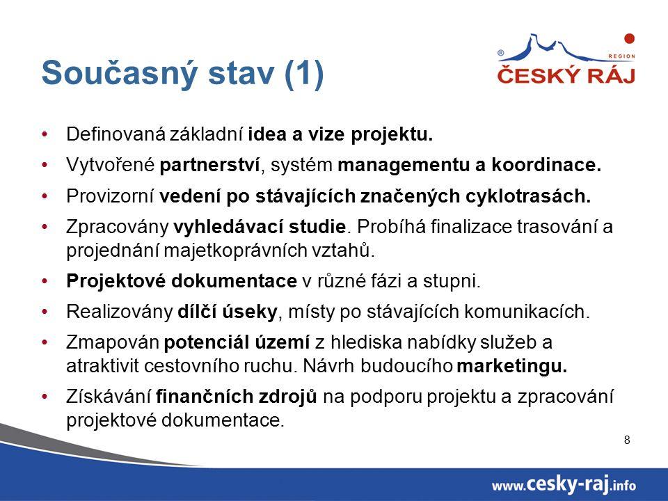 8 Současný stav (1) Definovaná základní idea a vize projektu. Vytvořené partnerství, systém managementu a koordinace. Provizorní vedení po stávajících