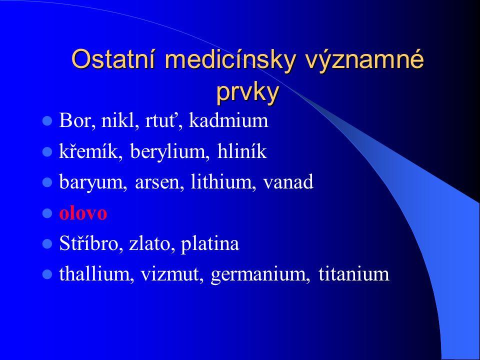 Ostatní medicínsky významné prvky Bor, nikl, rtuť, kadmium křemík, berylium, hliník baryum, arsen, lithium, vanad olovo Stříbro, zlato, platina thallium, vizmut, germanium, titanium
