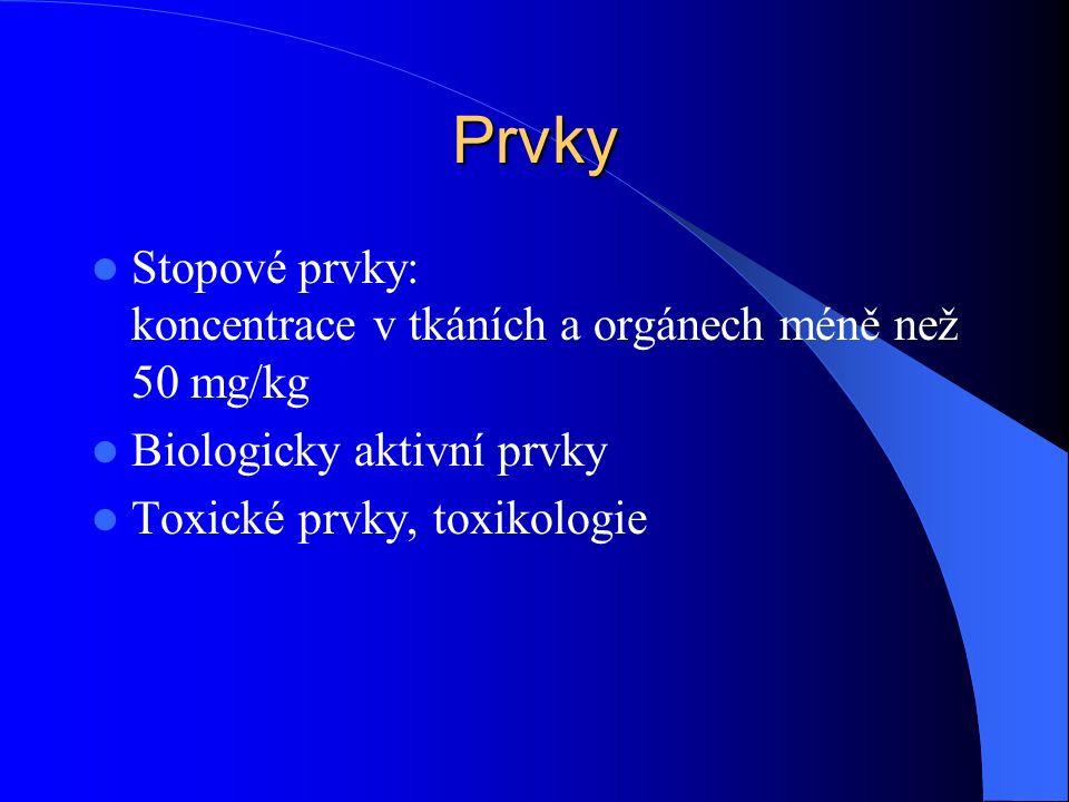 Prvky Stopové prvky: koncentrace v tkáních a orgánech méně než 50 mg/kg Biologicky aktivní prvky Toxické prvky, toxikologie