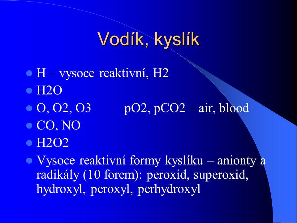 Dusík, síra N2, bod varu -200 C NH3, NH4, NH2 N2O, NO, N2O3, NO2, N205 HNO2 – nitráty, met-Hb HNO3 – nitrity H2S, H2SO4 – sulfáty, SH