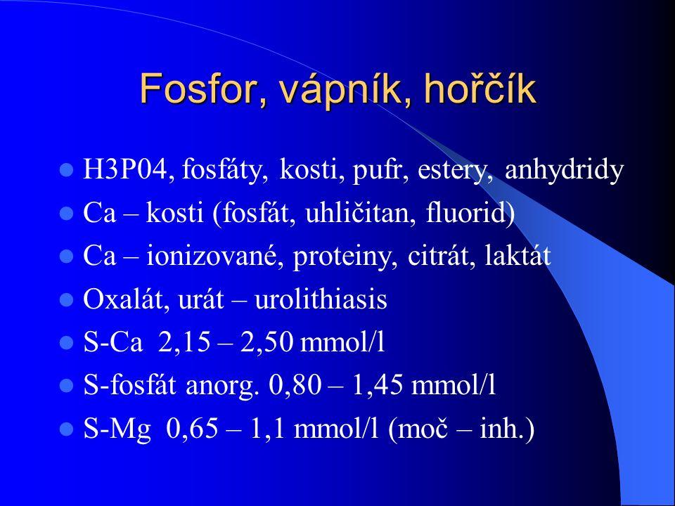 Fosfor, vápník, hořčík H3P04, fosfáty, kosti, pufr, estery, anhydridy Ca – kosti (fosfát, uhličitan, fluorid) Ca – ionizované, proteiny, citrát, laktát Oxalát, urát – urolithiasis S-Ca 2,15 – 2,50 mmol/l S-fosfát anorg.