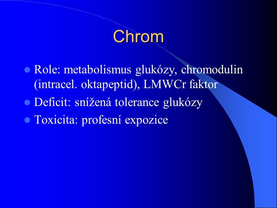 Chrom Role: metabolismus glukózy, chromodulin (intracel.
