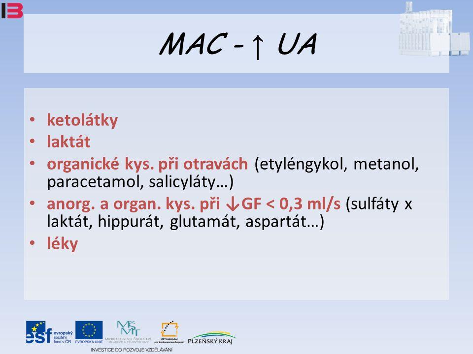 MAC - ↑ UA ketolátky laktát organické kys.