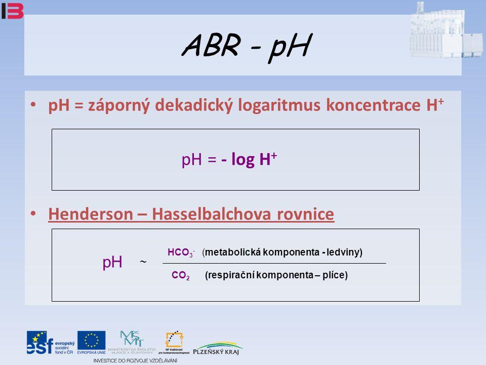 ABR - pH pH = záporný dekadický logaritmus koncentrace H + pH = - log H + Henderson – Hasselbalchova rovnice CO 2 (respirační komponenta – plíce) HCO 3 - (metabolická komponenta - ledviny) pH ~