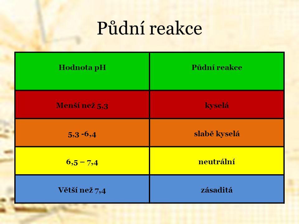 Půdní reakce Hodnota pHPůdní reakce Menší než 5,3kyselá 5,3 -6,4slabě kyselá 6,5 – 7,4neutrální Větší než 7,4zásaditá