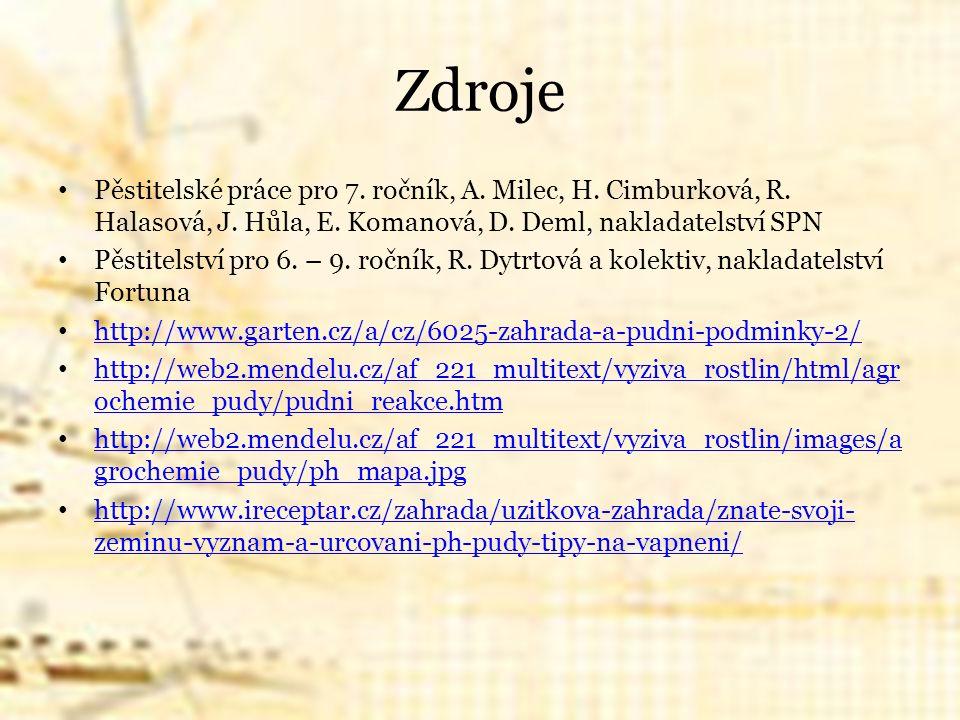 Zdroje Pěstitelské práce pro 7. ročník, A. Milec, H. Cimburková, R. Halasová, J. Hůla, E. Komanová, D. Deml, nakladatelství SPN Pěstitelství pro 6. –
