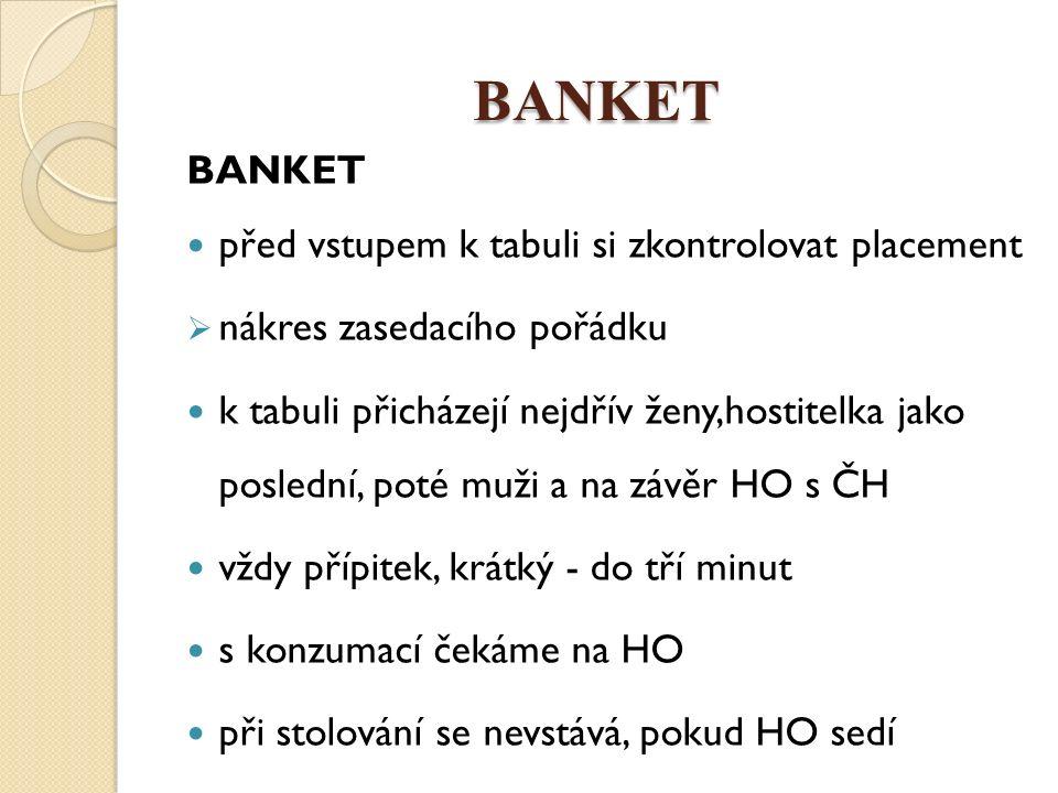 BANKET BANKET před vstupem k tabuli si zkontrolovat placement  nákres zasedacího pořádku k tabuli přicházejí nejdřív ženy,hostitelka jako poslední, p