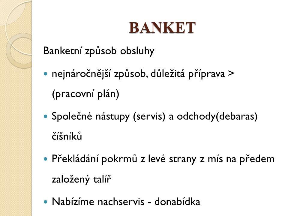 BANKET Banketní způsob obsluhy nejnáročnější způsob, důležitá příprava > (pracovní plán) Společné nástupy (servis) a odchody(debaras) číšníků Překládá