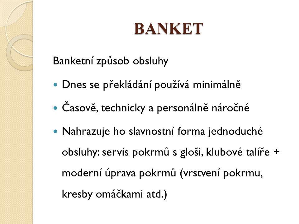 BANKET Banketní způsob obsluhy Dnes se překládání používá minimálně Časově, technicky a personálně náročné Nahrazuje ho slavnostní forma jednoduché ob
