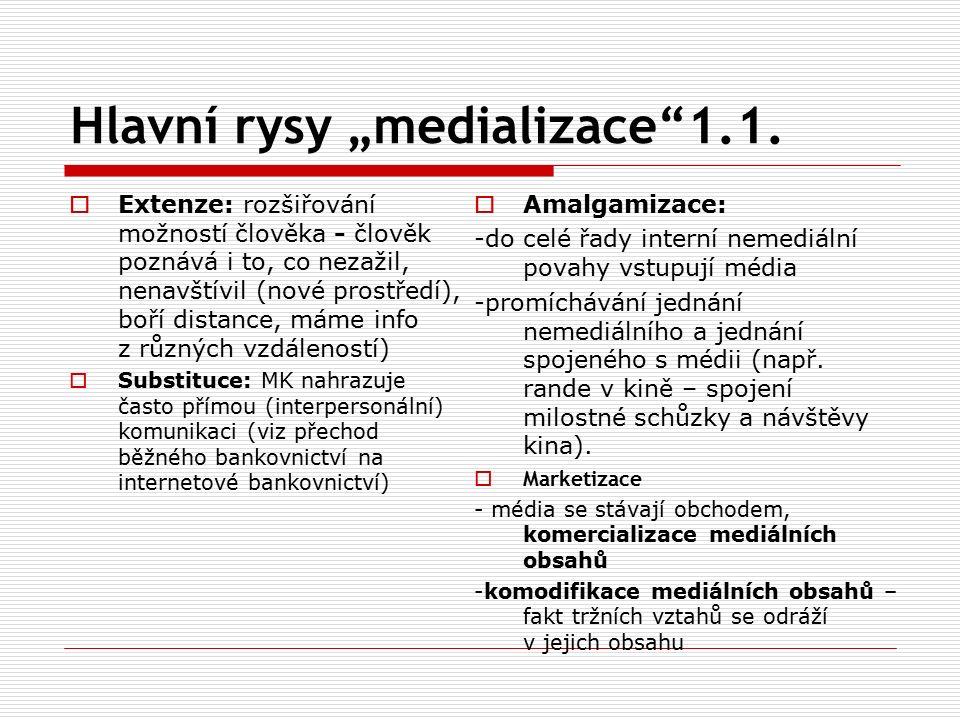 """Hlavní rysy """"medializace 1.1."""