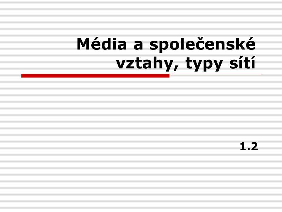 Média a společenské vztahy, typy sítí 1.2