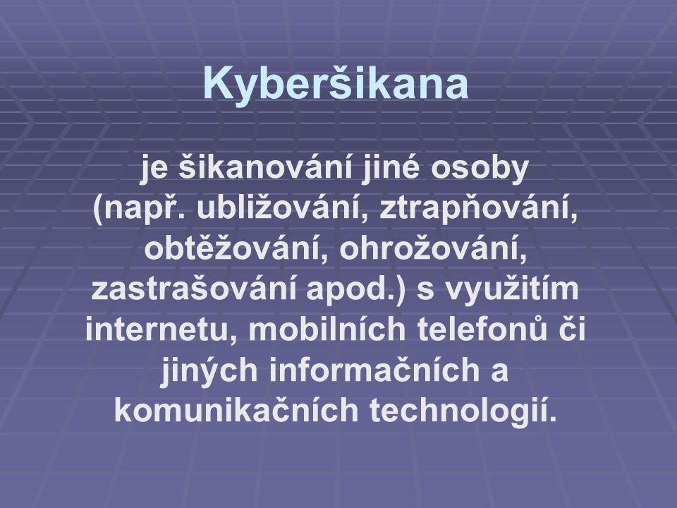 Kyberšikana je šikanování jiné osoby (např. ubližování, ztrapňování, obtěžování, ohrožování, zastrašování apod.) s využitím internetu, mobilních telef