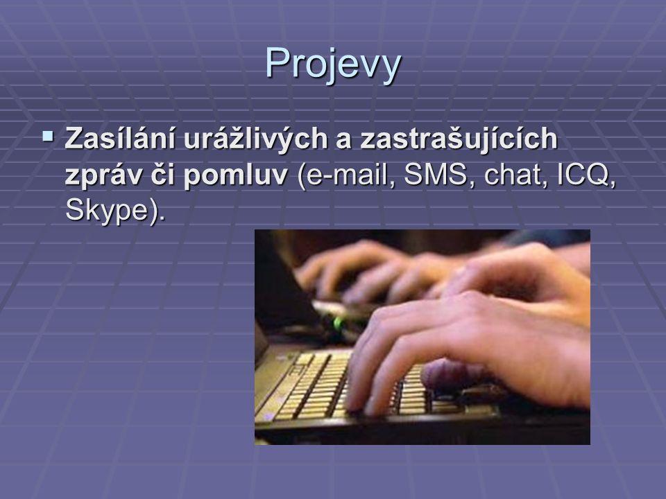 Projevy  Zasílání urážlivých a zastrašujících zpráv či pomluv (e-mail, SMS, chat, ICQ, Skype).