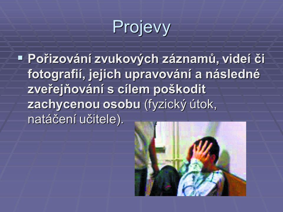 Projevy  Pořizování zvukových záznamů, videí či fotografií, jejich upravování a následné zveřejňování s cílem poškodit zachycenou osobu (fyzický útok, natáčení učitele).
