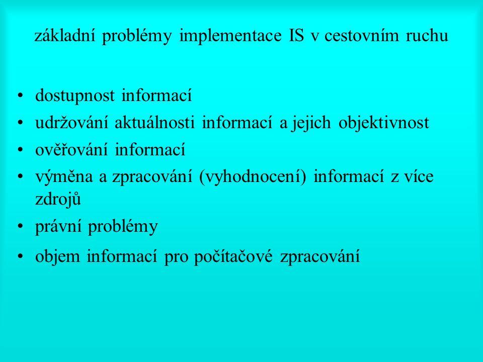 základní problémy implementace IS v cestovním ruchu dostupnost informací udržování aktuálnosti informací a jejich objektivnost ověřování informací výměna a zpracování (vyhodnocení) informací z více zdrojů právní problémy objem informací pro počítačové zpracování