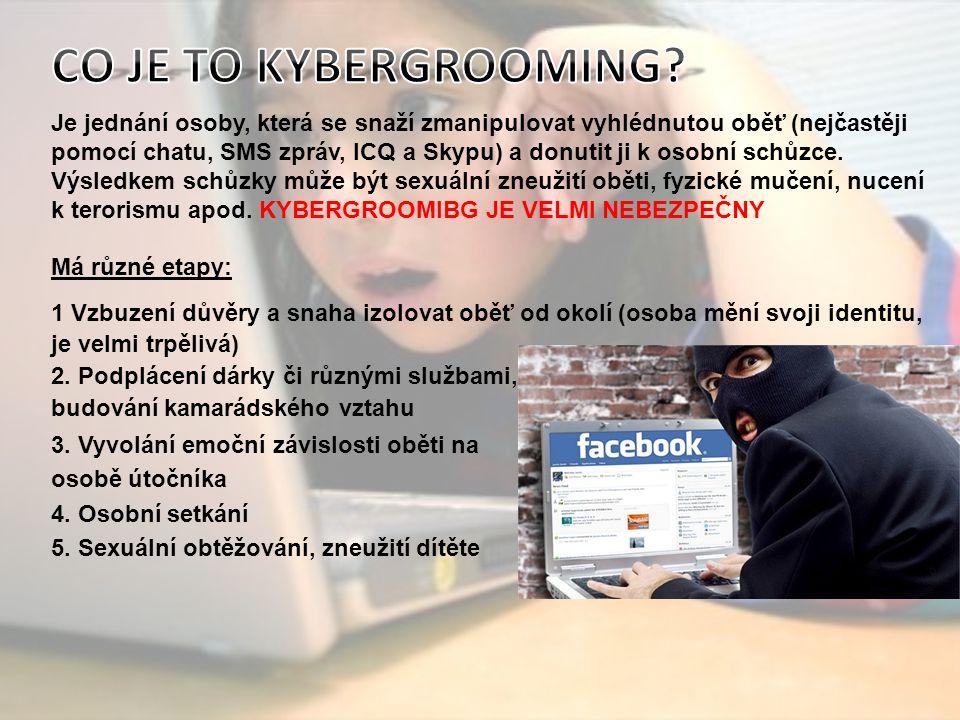 Je jednání osoby, která se snaží zmanipulovat vyhlédnutou oběť (nejčastěji pomocí chatu, SMS zpráv, ICQ a Skypu) a donutit ji k osobní schůzce.