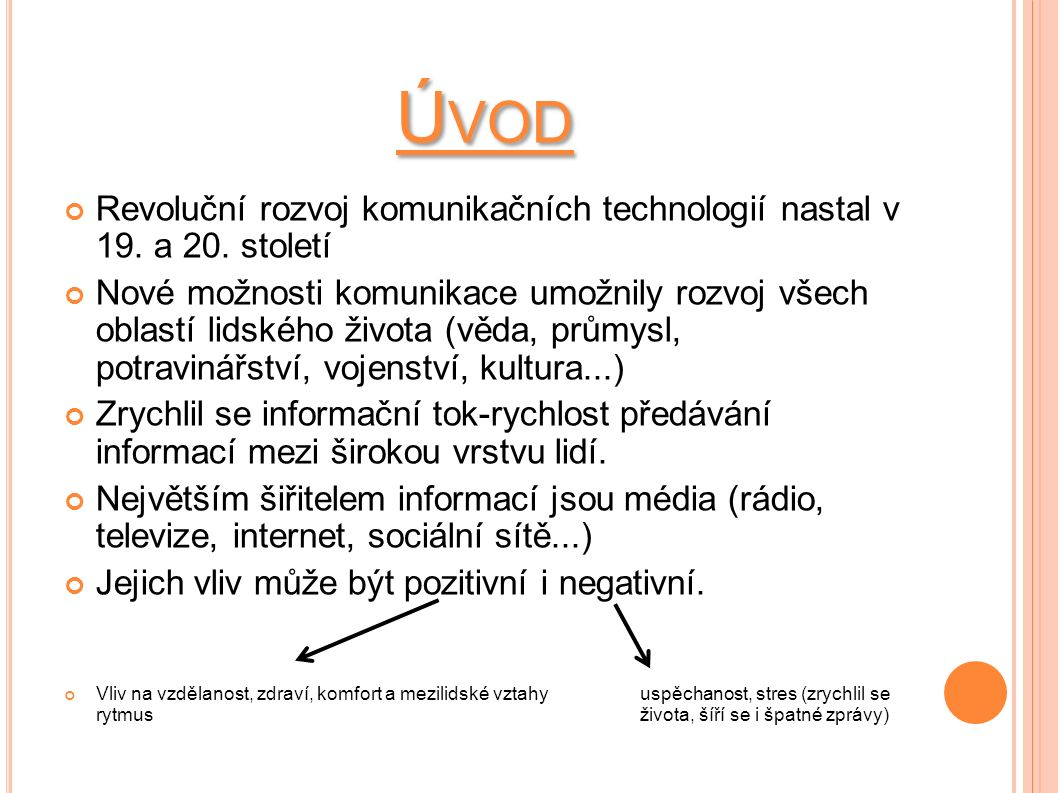Ú VOD Revoluční rozvoj komunikačních technologií nastal v 19.