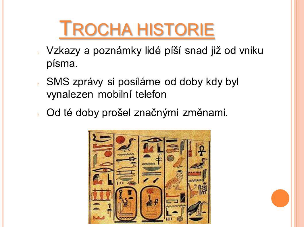 T ROCHA HISTORIE o Vzkazy a poznámky lidé píší snad již od vniku písma.