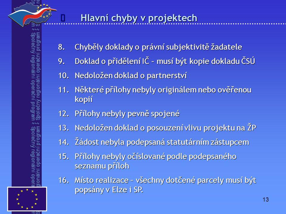13 Hlavní chyby v projektech  8.