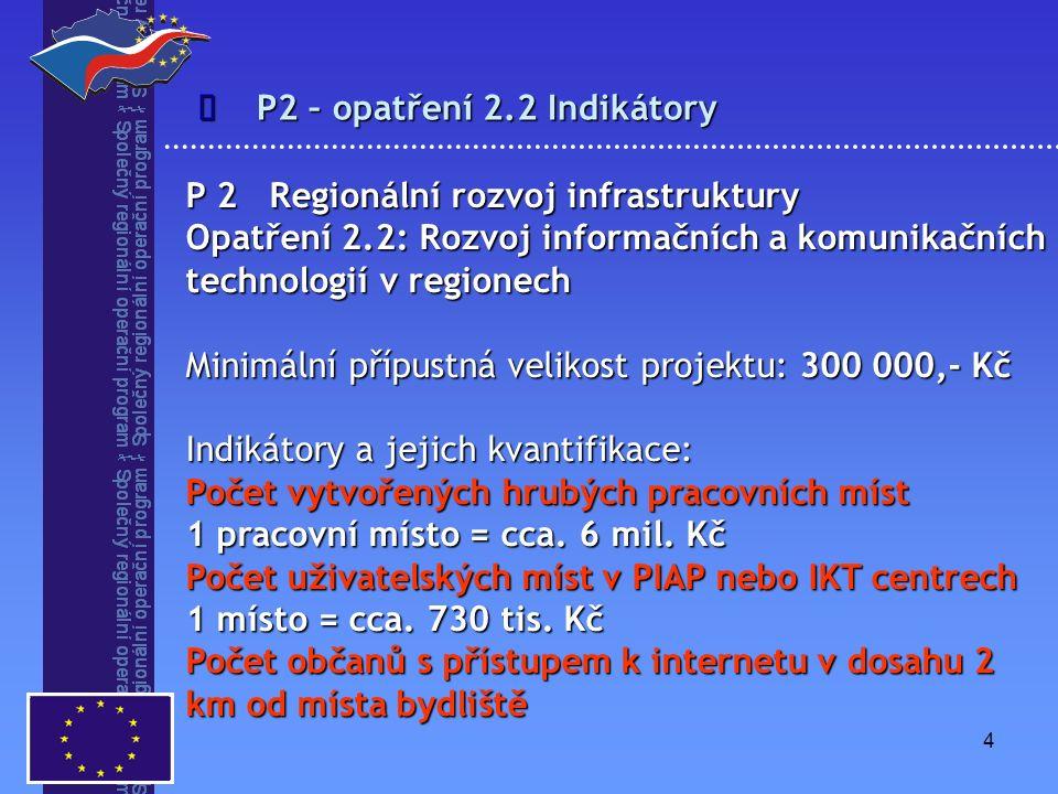 4 P2 – opatření 2.2 Indikátory  P 2 Regionální rozvoj infrastruktury Opatření 2.2: Rozvoj informačních a komunikačních technologií v regionech Minimální přípustná velikost projektu: 300 000,- Kč Indikátory a jejich kvantifikace: Počet vytvořených hrubých pracovních míst 1 pracovní místo = cca.