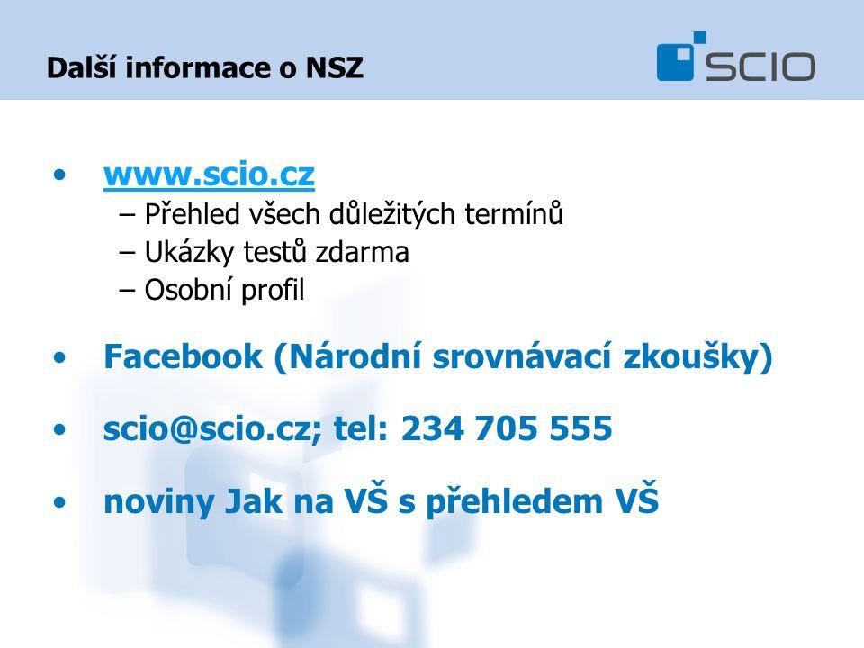 Další informace o NSZ www.scio.cz –Přehled všech důležitých termínů –Ukázky testů zdarma –Osobní profil Facebook (Národní srovnávací zkoušky) scio@scio.cz; tel: 234 705 555 noviny Jak na VŠ s přehledem VŠ