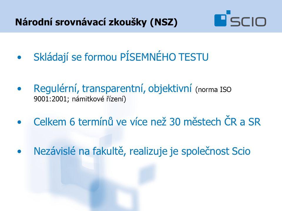 Národní srovnávací zkoušky (NSZ) Skládají se formou PÍSEMNÉHO TESTU Regulérní, transparentní, objektivní (norma ISO 9001:2001; námitkové řízení) Celkem 6 termínů ve více než 30 městech ČR a SR Nezávislé na fakultě, realizuje je společnost Scio