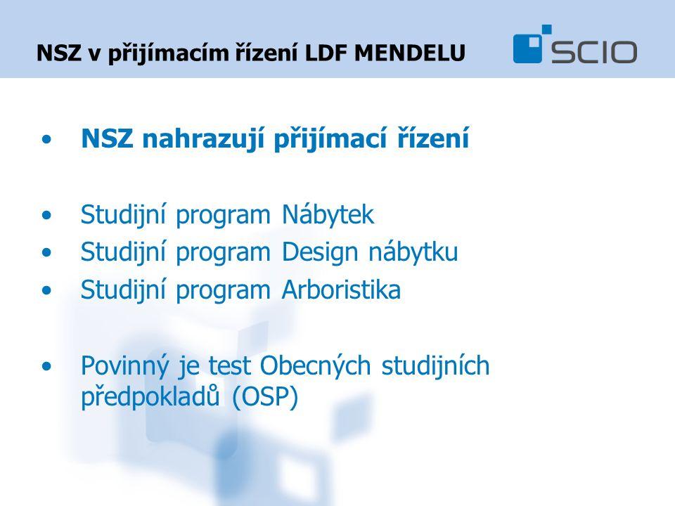 NSZ v přijímacím řízení LDF MENDELU NSZ nahrazují přijímací řízení Studijní program Nábytek Studijní program Design nábytku Studijní program Arboristika Povinný je test Obecných studijních předpokladů (OSP)