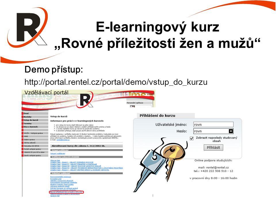 """E-learningový kurz """"Rovné příležitosti žen a mužů Demo přístup: http://portal.rentel.cz/portal/demo/vstup_do_kurzu"""