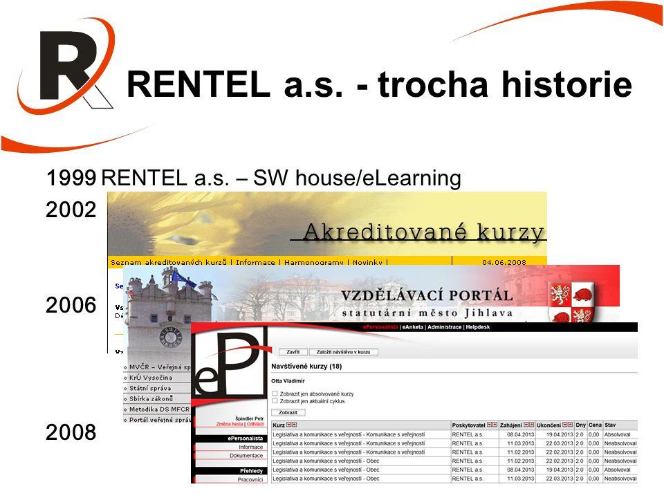 RENTEL a.s. - trocha historie 1999 RENTEL a.s. – SW house/eLearning 2002 2006 2008