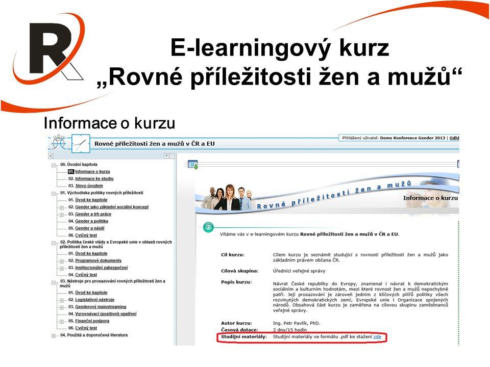"""E-learningový kurz """"Rovné příležitosti žen a mužů Informace o kurzu"""