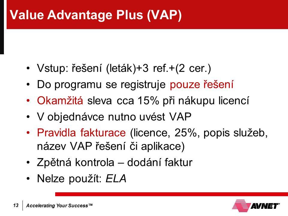 Accelerating Your Success™ 13 Value Advantage Plus (VAP) Vstup: řešení (leták)+3 ref.+(2 cer.) Do programu se registruje pouze řešení Okamžitá sleva cca 15% při nákupu licencí V objednávce nutno uvést VAP Pravidla fakturace (licence, 25%, popis služeb, název VAP řešení či aplikace) Zpětná kontrola – dodání faktur Nelze použít: ELA