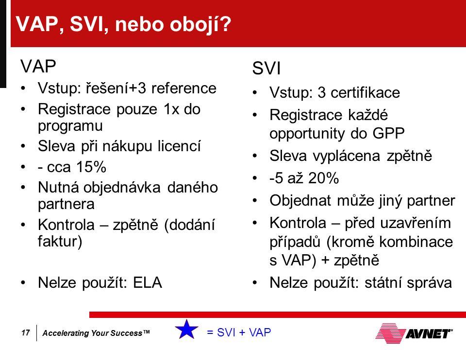 Accelerating Your Success™ 17 VAP, SVI, nebo obojí? VAP Vstup: řešení+3 reference Registrace pouze 1x do programu Sleva při nákupu licencí - cca 15% N