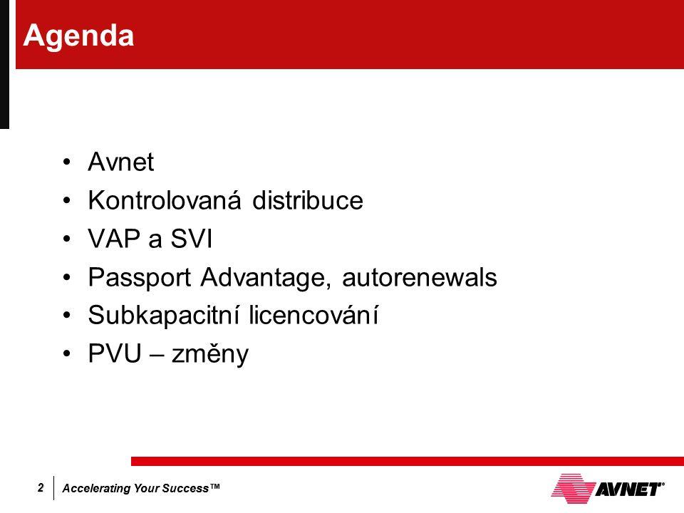 Accelerating Your Success™ 2 Agenda Avnet Kontrolovaná distribuce VAP a SVI Passport Advantage, autorenewals Subkapacitní licencování PVU – změny