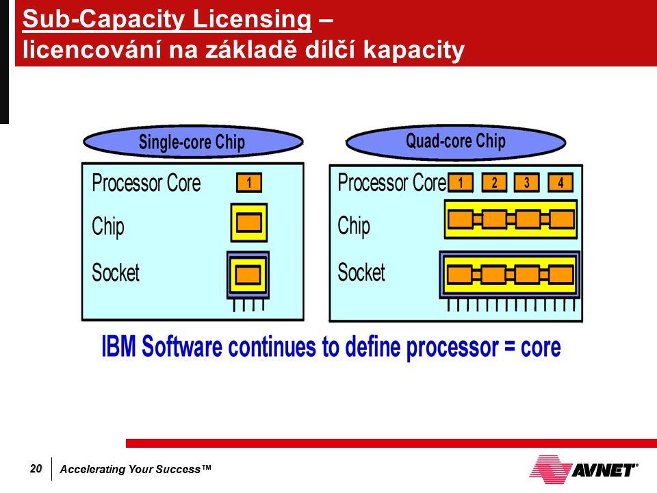 Accelerating Your Success™ 20 Sub-Capacity Licensing – licencování na základě dílčí kapacity