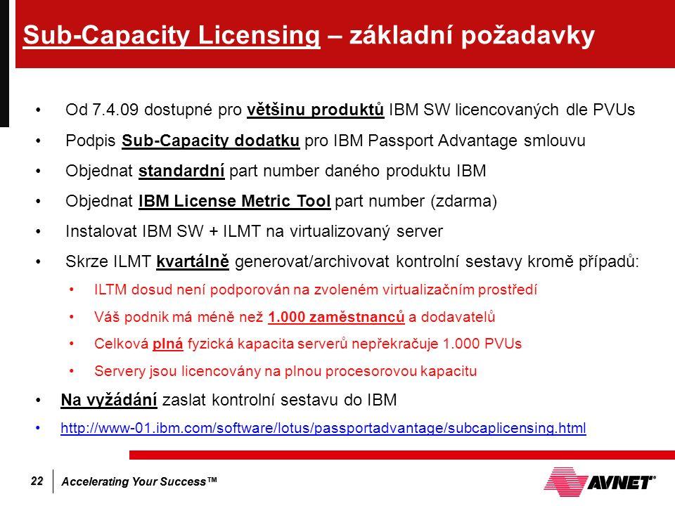 Accelerating Your Success™ 22 Sub-Capacity Licensing – základní požadavky Od 7.4.09 dostupné pro většinu produktů IBM SW licencovaných dle PVUs Podpis Sub-Capacity dodatku pro IBM Passport Advantage smlouvu Objednat standardní part number daného produktu IBM Objednat IBM License Metric Tool part number (zdarma) Instalovat IBM SW + ILMT na virtualizovaný server Skrze ILMT kvartálně generovat/archivovat kontrolní sestavy kromě případů: ILTM dosud není podporován na zvoleném virtualizačním prostředí Váš podnik má méně než 1.000 zaměstnanců a dodavatelů Celková plná fyzická kapacita serverů nepřekračuje 1.000 PVUs Servery jsou licencovány na plnou procesorovou kapacitu Na vyžádání zaslat kontrolní sestavu do IBM http://www-01.ibm.com/software/lotus/passportadvantage/subcaplicensing.html
