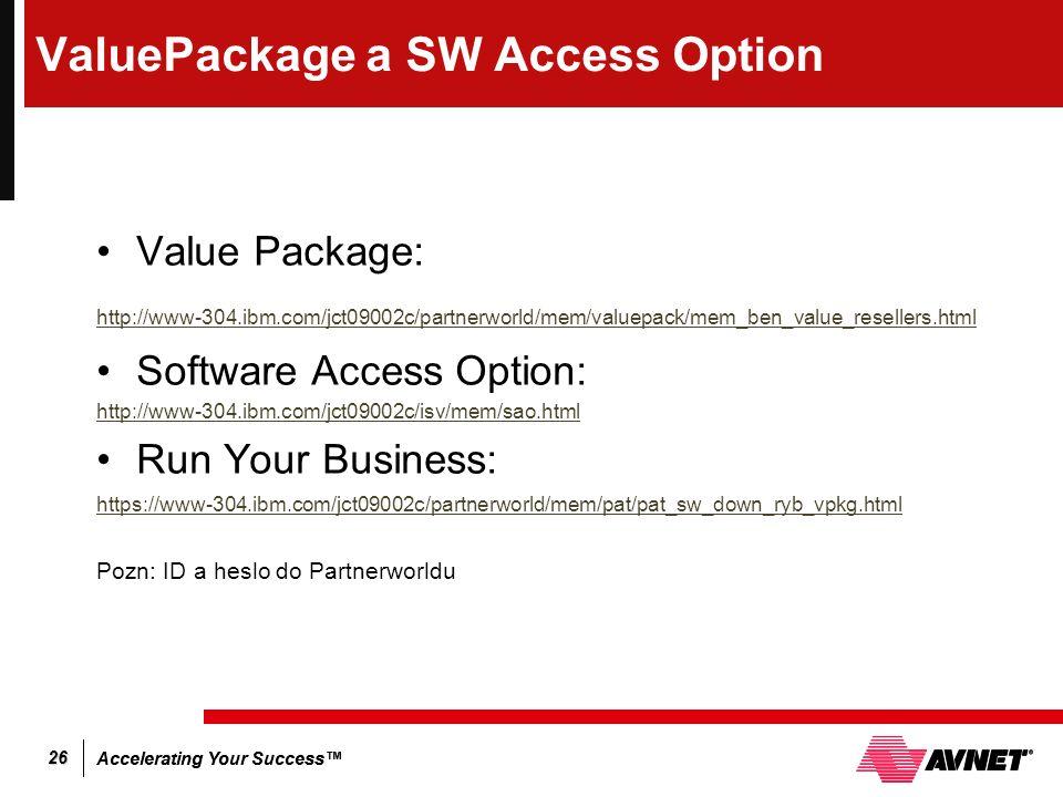 Accelerating Your Success™ 26 ValuePackage a SW Access Option Value Package: http://www-304.ibm.com/jct09002c/partnerworld/mem/valuepack/mem_ben_value