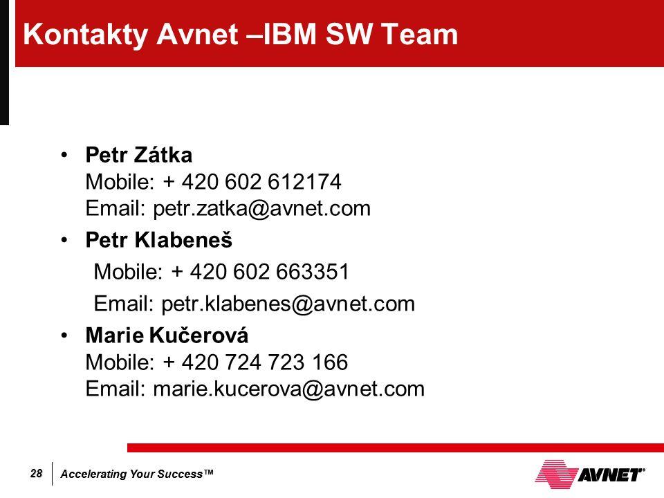 Accelerating Your Success™ 28 Kontakty Avnet –IBM SW Team Petr Zátka Mobile: + 420 602 612174 Email: petr.zatka@avnet.com Petr Klabeneš Mobile: + 420 602 663351 Email: petr.klabenes@avnet.com Marie Kučerová Mobile: + 420 724 723 166 Email: marie.kucerova@avnet.com