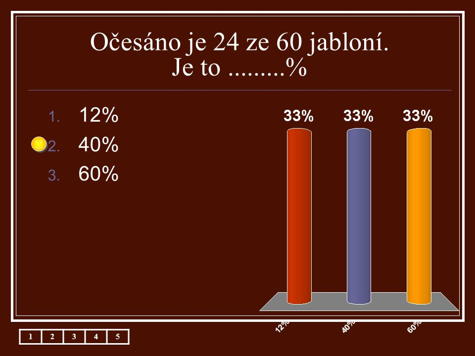 Očesáno je 24 ze 60 jabloní. Je to.........% 1. 12% 2. 40% 3. 60% 12345